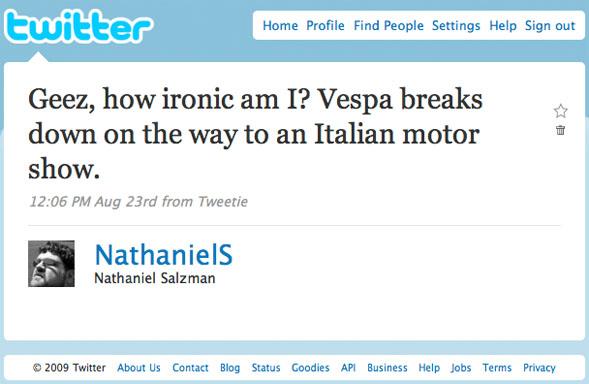 Twitter Status: Vespa breakdown
