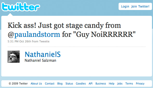 Twitter update: Paul and Storm give me candy.